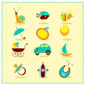 Toys icons , Vector illustration — Stock Vector