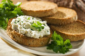 Curd with bread — Stock Photo