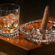 Cigar and whiskey — Stock Photo