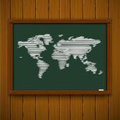 Dřevěná kostra s mapou světa — Stock vektor