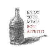 Wine bottle over brown background. vector illustration — Stock Vector