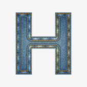 Isolated alphabet made from jeans fabric — Stockvector
