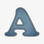 Denim letter. Jeans alphabet — Stock Vector
