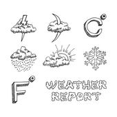 Weather icons set. Hand drawn sketch. Vector eps8 — Stock Vector