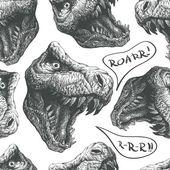 Seamless doodle dinosaur pattern. eps8 — Wektor stockowy