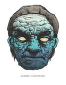 Zombie head. hand drawn. vector eps8 — Stock Vector