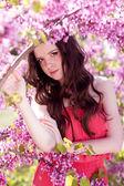 Söt flicka i vår park med rosa blommor — Stockfoto