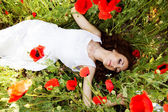 Young beautiful girl in the field of poppies — 图库照片