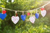 Colorful hearts hanging on green background — Stock Photo