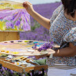 ������, ������: Young artist painting in lavender field
