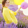 Beautiful pregnant woman in the lavender field — Stock fotografie #50252993