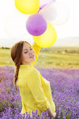 Beautiful pregnant woman in the lavender field — Photo