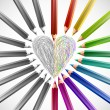 Painted heart with color pencils. Vector — Vettoriale Stock #12430007