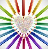 色の鉛筆と塗装ハート。ベクトル — ストックベクタ
