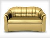 Golden leather sofa. Vector — Stock Vector
