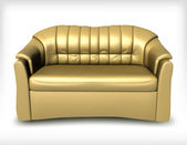 Golden leather sofa. Vector — Stock Vector