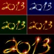 Set christmas card with glow colorful 2013. Vector — Stock vektor