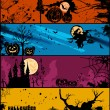 Set halloween banners in different of colors. Vector — Stock Vector