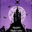 Halloween purple card with castle, bats and pumpkin. Vector — Stock Vector