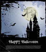Halloween card with castle, bats and pumpkin. Vector — Stock Vector