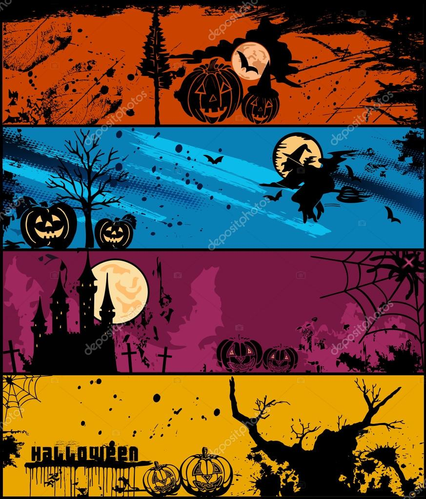 Set of 4 Halloween banners in different of colors. Vector illustration — Stok Vektör #12771078