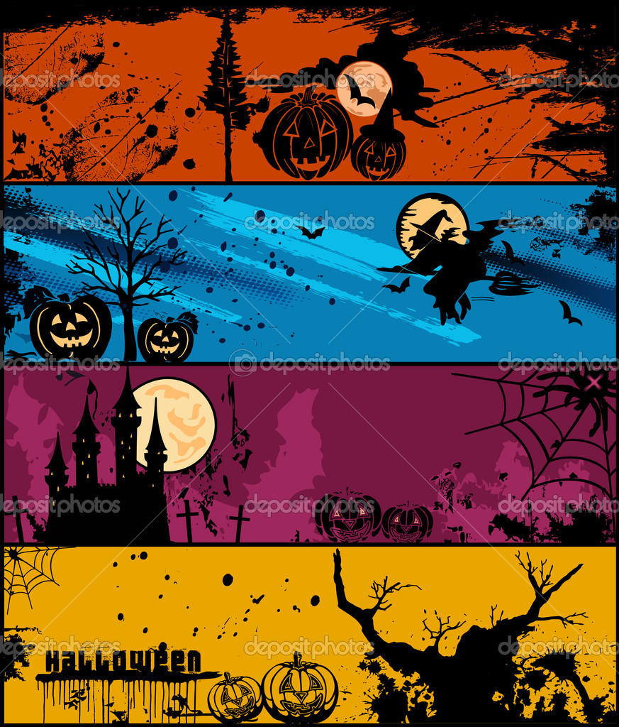 Set of 4 Halloween banners in different of colors. Vector illustration — Imagen vectorial #12771078