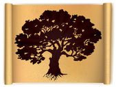 Tree on old scroll paper. Vector — Vector de stock