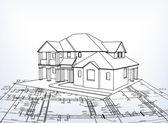 House. Vector technical draw — Stock Vector