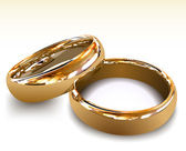 Gold wedding rings. Vector illustration — Vecteur