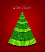 緑の木の赤いクリスマスの背景。ベクトル — ストックベクタ