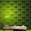 Interior of a room in green style. Vector — Stock Vector