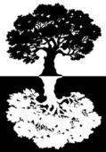 Two black and white trees. Vector — Stock Vector