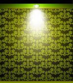 освещенные зеленая стена бесшовная с лампой. вектор — Cтоковый вектор