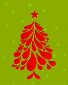 Abstract red christmas tree. Vector — Stock Vector