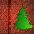 Stock Vector: Background - a material of jeans with christmas tree. Vector