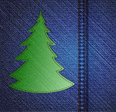 Background - a material of jeans with christmas tree. Vector — Stock Vector