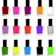 Set bottles of nail polish in various colors. Vector - Stock Vector