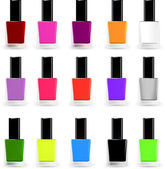 Set bottles of nail polish in various colors. Vector — Stock Vector
