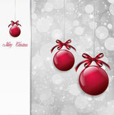 Red Christmas Balls on shiny card. Vector — Stock Vector