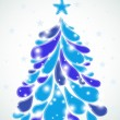 Abstract blue christmas tree. Vector — Stock Vector