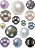 Conjunto de perlas de colores. vector — Vector de stock