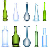 Set colorful bottle in different form. Vector — Stock Vector