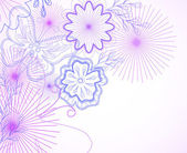 Flores dibujadas a mano y mariposa. vector — Vector de stock