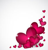 Valentines Day Background with pink hearts. Vector — Stock Vector