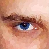 Der Nähe ein mans Augen. Vektor-Mosaik-Hintergrund — Stockvektor