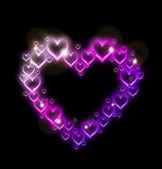 розовое сердце граница с блестками. вектор — Cтоковый вектор