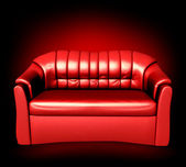 赤い革のソファ。ベクトル — ストックベクタ