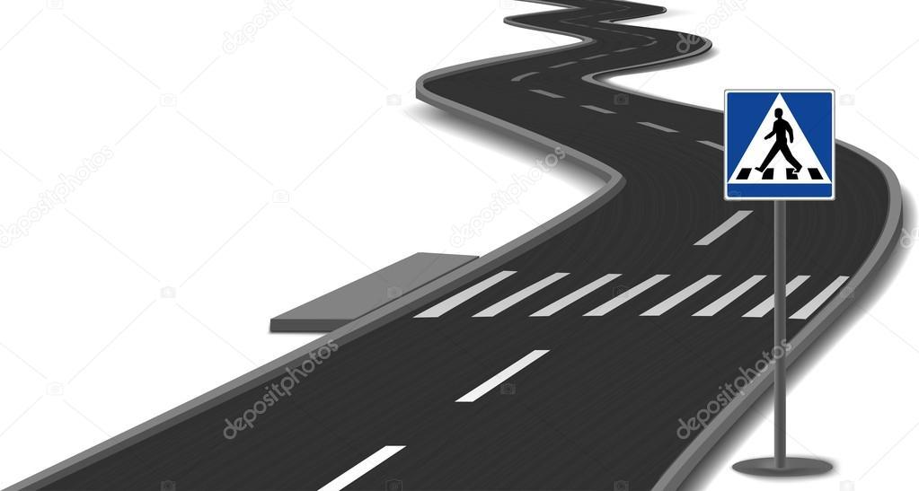 路上的斑马线条纹.矢量 - 图库插图