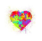Corazón de salpicaduras de pintura. ilustración vectorial — Vector de stock