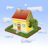 House with a garden in the clouds. Vector — Stock Vector